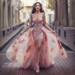 Saudi Arabic Overskirt Mermaid Evening Dresses Blush Sheer Backless V Neck Appliques with Capes  ...