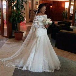 Sexy Mermaid Wedding Dresses Illusion Long Sleeve Fishtail Train Sequins Beaded Tulle Lace Brida ...