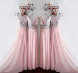 Shiny Sequined Long Pink Chiffon Bridesmaid Dress Formal Wedding Party Gowns New Arrival 2018 Br ...