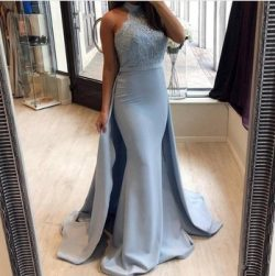 Stunning Arabic Light Blue Evening Dresses with Removable Train Mermaid High Neck Women Occasion ...