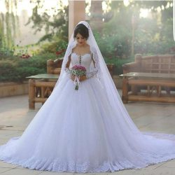 Stunning Said Mhamad Wedding Dresses Puffy Ball Gown Sheer Long Sleeves Wedding Gowns Full Lace  ...