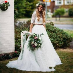 Two Pieces Country Wedding Dresses A Line Jewel 1/2 Sleeve Floor Length Bridal Gowns With Lace T ...
