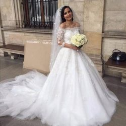 Vestidos de novia 2018 Spring New Off Shoulder A Line Wedding Dresses Lace Appliqued Sheer Half  ...