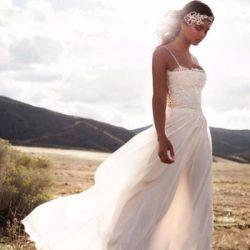 Vintage Lace Lurelly Beach Wedding Dresses Spaghetti A-line Chiffon Floor Length Bridal Simple C ...