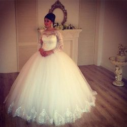 Wedding Dresses Jewel Neck Long Sleeve Ball Gown Wedding Dresses Appliques Lace Bridal Gowns Chu ...
