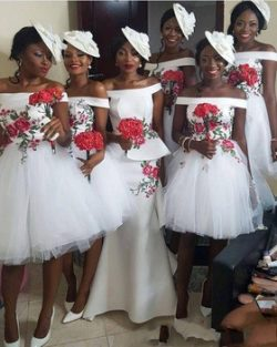 White Short Bridesmaid Party Dresses Off the Shoulder Knee Length Backless Cheap Bridesmaids Dre ...