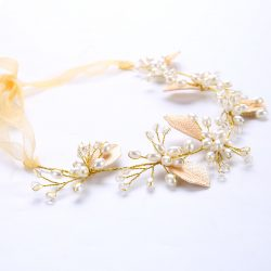 urope style golden hair accessories pearl headwear for bridal