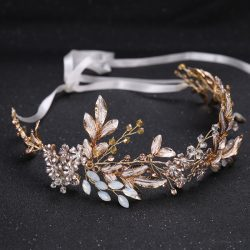 Europe style golden handmade hairbands leaves decoration headwear for bridal
