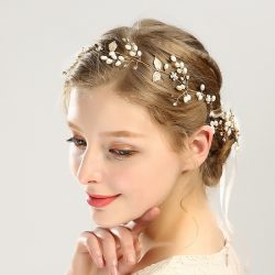 Fashion style golden handmade hairbands sets headwear for bridal