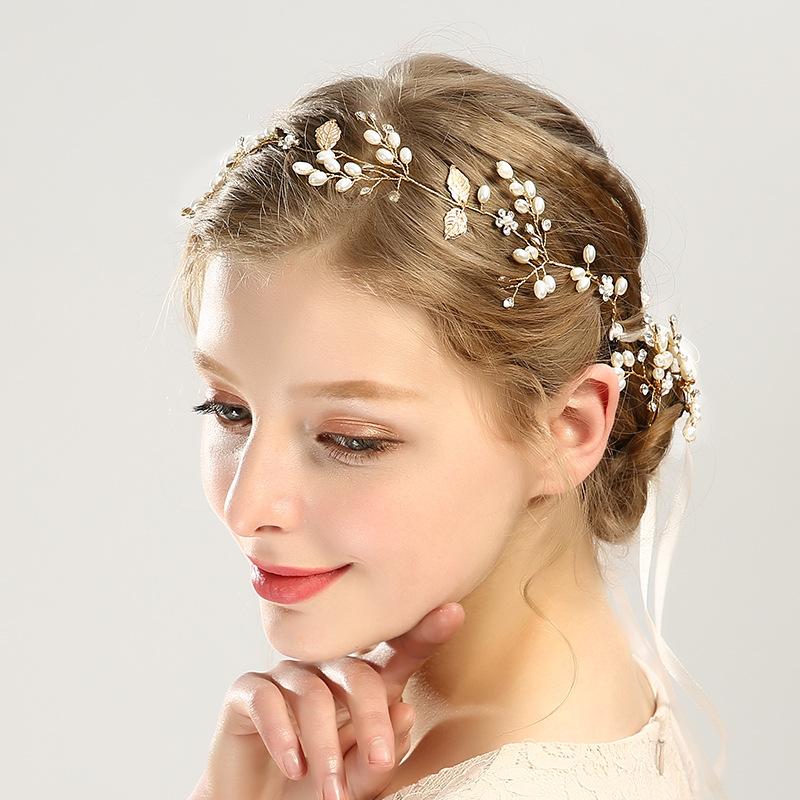 Fashion style golden handmade hairbands sets headwear for bridal