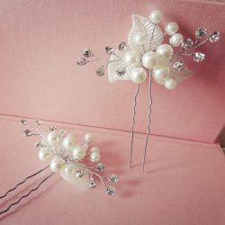 White wedding gown accessories handmade bridal rhinestone hair decoration