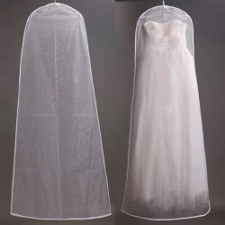 High quality transparent wedding soft mesh length 1.8cm wedding dress cover dust bag