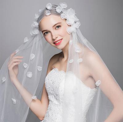 Wholesale Long trailing lace flower wedding veil