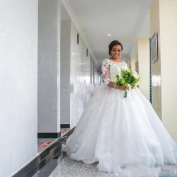 African Plus Size Wedding Dresses With 3/4 Long Sleeves Lace Appliques South Arabic A Line Long  ...