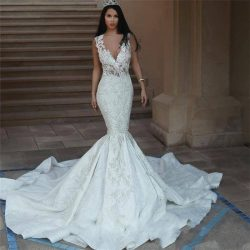 Arabic Dubai Style Mermaid Wedding Dress Mermaid Lace Appliques Deep V-neck Sheer Open Back Long ...