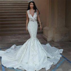 Arabic Dubai Style Mermaid Wedding Dress Mermaid Lace Appliques Deep V-neck Sheer Open Back Long ...
