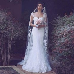 Arabic Elegant White Mermaid Wedding Dress Spaghetti Backless Sweep Train Appliques Beaded Long  ...