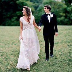 Bohemian Beach Long Wedding Dresses A-Line Chiffon Deep V Neck Cap Sleeves Lace Dress Boho Summe ...