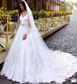 Custom Made Lace Wedding Dresses Illusion V Neck New Colorful White And A Line Bridal Gowns Hot  ...