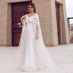 Dubai Lace Cape Style Wedding Dresses Bateau Neck 3D Flower Lace Maternity Destination Arabic Dr ...