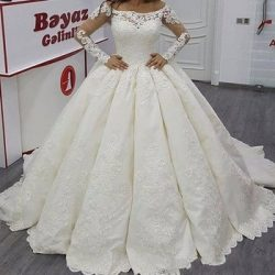 Elegant Long Sleeve Illusion Applique 2018 Wedding Dresses Sheer Lace Church Train Cheap Plus Si ...