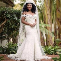 Exquisite Beads Off Shoulder Arabic Mermaid Lace Wedding Dress Plus Size Country African Bridal Gown