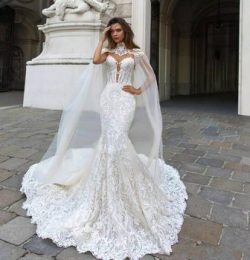 Gorgeous Mermaid Lace Wedding Dresses With Cape Sheer Plunging Neck Bohemian Bridal Gown Appliqu ...