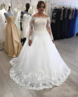 Lace Off Shoulder Ball Gown Wedding Dresses Spring Summer Bridal Gowns Sweep Train Saudi Arabic  ...
