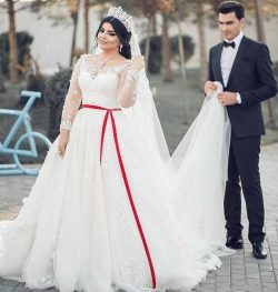 Middle East Plus Size Wedding Dresses Scoop A Line Long Sleeves Full Lace Applique Bridal Weddin ...