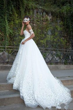 Milla Nova Wedding Dresses 2018 A-line Off Shoulders Appliques Backless Tulle Long Bridal Gowns  ...