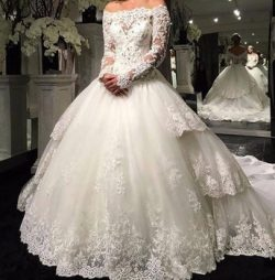 Modest Bateau Long Sleeve Wedding Dresses Beads Sheer Lace Saudi Arabia Plus Size Train vestido  ...