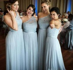 One Shoulder Chiffon Bridesmaid Dresses Lace Top Floor Length Maid Of Honor Cheap Prom Dresses F ...