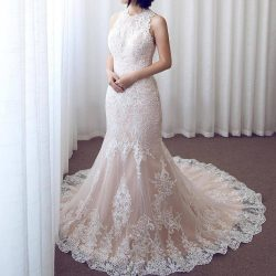 Pink Lace Mermaid Wedding Dresses Sleeveless Jewel Neck Lace Appliques Long Bridal Gowns
