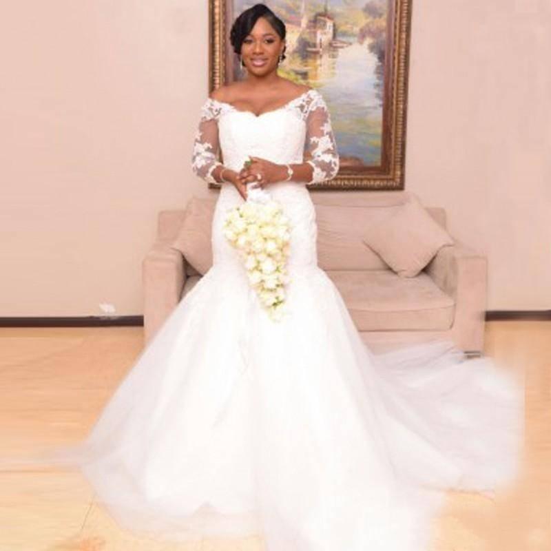 Plus Size Wedding Dresses Mermaid Mermaid Bateau Luxury Cap Sleeves Lace Appliques Boho Bridal G ...