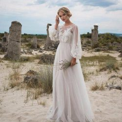 Romantic Puffy Lace Sheer Bohemian Garden Wedding Dresses Beach Spring Boho Pregnant Country Sty ...