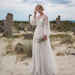 Romantic Puffy Lace Sheer Bohemian Garden Wedding Dresses Beach Spring Boho Pregnant Country Sty ...