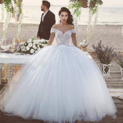 Saidmhamad Off the Shoulder Applique Lace Nude Bodice Ball Gowns Wedding Dress Bridal Dress vest ...