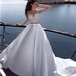 Said Mhamad Two Piece Lace Wedding Dresses 2018 Applique Sweetheart Court Train Illusion Button  ...