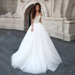 Sheer Off The Shoulder Champagne and White Two Stones Wedding Dress Ball Gown Long Sleeves Brida ...