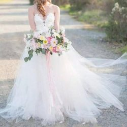 Simple Country Wedding Dresses A Line Strapless Sweep Train Bridalk Gowns With Lace Tulle Backle ...