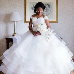 South African Lace Ball Gown Wedding Dresses Off the Shoulder Ruffles Plus Size Bridal Gown
