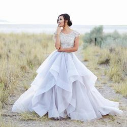 Sparkly Beading Top Wedding Dresses Organza Ruffles Bridal Dress Elegant Summer Short Sleeves Be ...