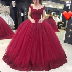 Tulle Ball Gown Lace Bodice Appliqued Hem Burgundy Off The Shoulder Evening Prom Gown With Lace  ...