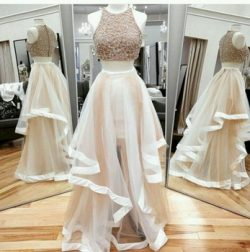 Two Pieces Champagne Prom Dresses Formal Occasion Dresses A-Line Sheer Neck Rhinestones Beaded L ...