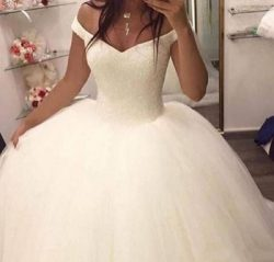 Vestido de noiva Ball Gown Off The Shoulder Sleeveless Plus Size Wedding Dress With Beading Swee ...