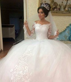 Vintage Lace Saudi Arabia Wedding Dresses African Western Sheer Applique Train Ball Vestido de n ...