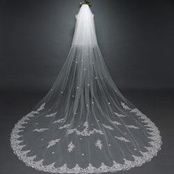 2018 applique simple design 3 meters two-layer bridal veils