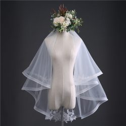 2018 classic simple design two-layer bridal veils applique wedding Veil with comb