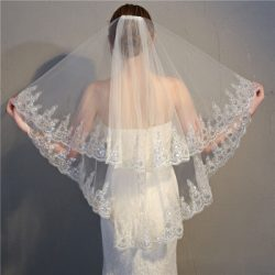 2018 double layers paillette white wedding veil with hair comb