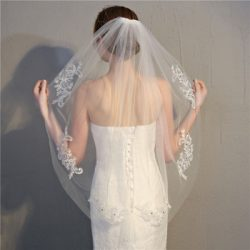 2018 hot sale bridal veils long single Layer beaded White Wedding Veil